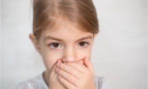 a kid becoming conscious of her speech