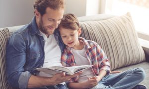 father and son's bonding moment through reading